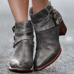 Low Heel Leather Buckle/Zipper Boot