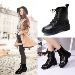 Retro Solid Leather Lace-Up Ankle Boot