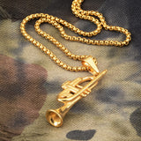 Trumpet Pendant Necklace. Stainless Steel