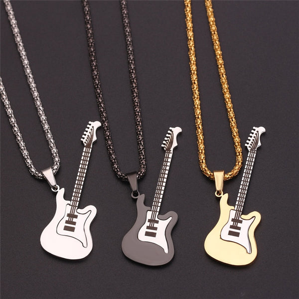 Gold Black Silver Fashion Men/Women Stainless Steel Music Guitar Pendant