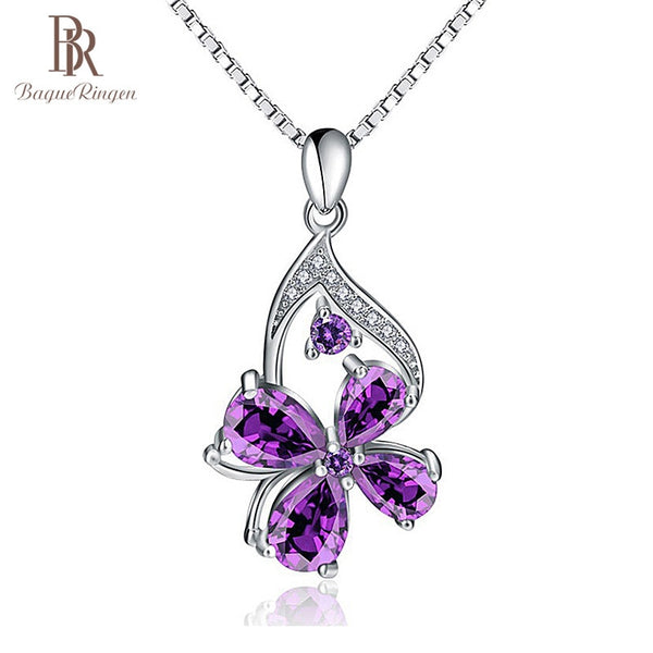 925 Sterling Silver Pendant Purple Amethyst Pendant Woman