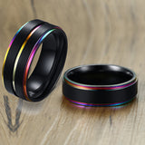 Black Stainless Steel Basic Ring for Men With Rainbow Line