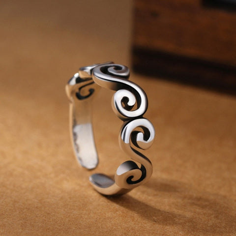 925 Sterling Silver Wave Ring For Women