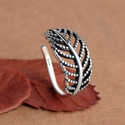 925 Sterling Silver Feather Adjustable Antique Ring