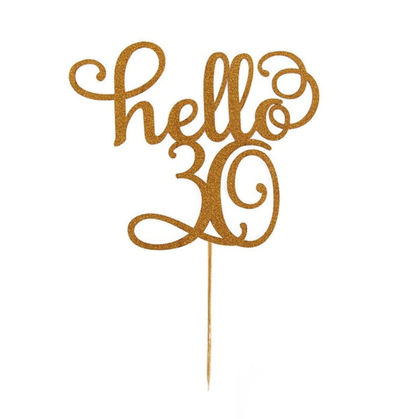 1pc Gold Hello 30/40/50/60 Cake Topper for birthday party