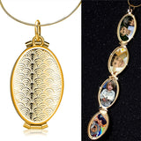 1pc Women Chic Necklace Pendants Fish Scale Oval Locket 4 Slot Photo Frame
