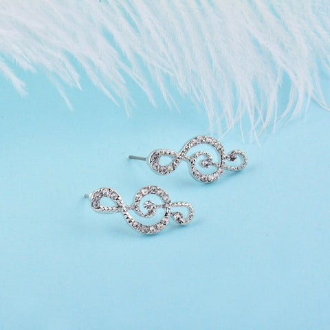 Sparkling Rhinestone Musical Note Stud Earrings