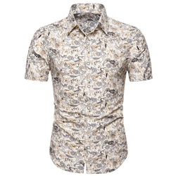 Short Sleeve Printed Turn-down Collar Men's Shirt