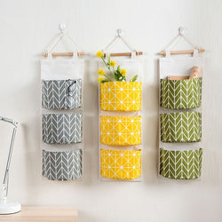 Cotton Line Hanging Organizer Bag 3-layer Holder