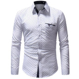 Men's Autumn Casual Formal Polka Dot Slim Fit Long Sleeve Dress Shirt