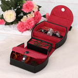 Black and red Leather Jewelry box organizer.