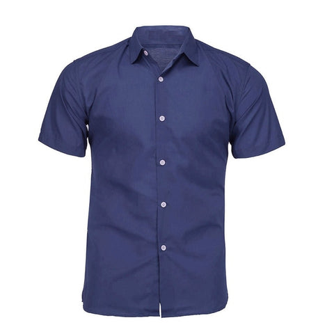 Men's Pure Color Shirts Single Breasted Turn-down Collar Short Sleeve Shirt