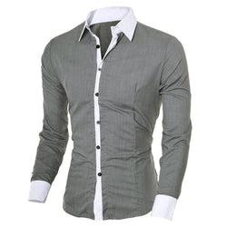Men's Shirt Casual Slim Long-sleeved Shirt Multi Color Stand-Neck
