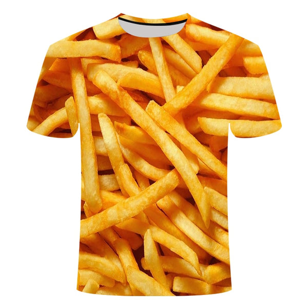 French fries/Hamburger  Men/women's 3D printed T-shirt
