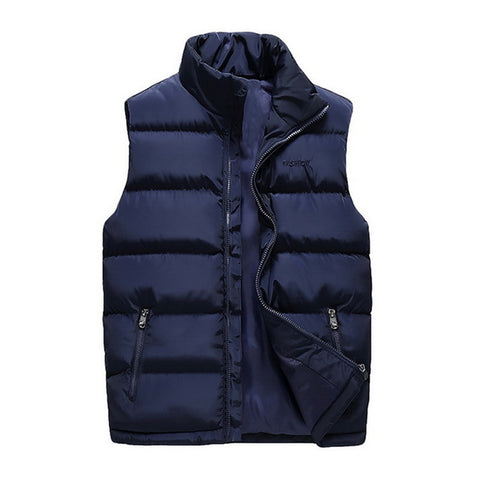 Winter Warm Zipper-up Classic Solid Color Lightweight Outdoor Puffer Vest