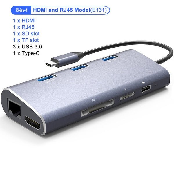 USB C Hub HDMI,VGA,, Ethernet, Card Reader 2 USB 3.0 + Type-C Charging port