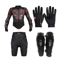 Motorcycle jacket set. Body Armor. Back support. Gloves. Short Pants. Knee Pad