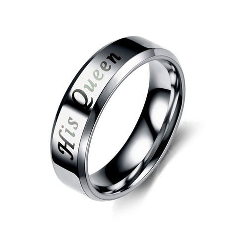 Silver Black Stainless steel His Queen Her King  Couple lover Promise Ring