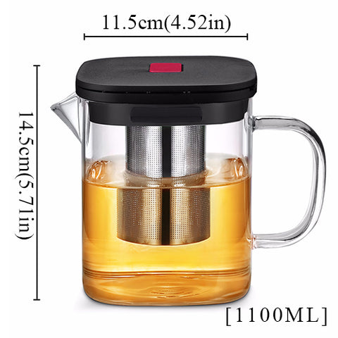 Square Glass Teapot Clear With Stainless Steel Infuser  2 sizes