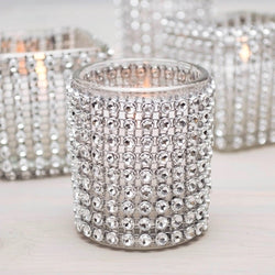 Silver Diamond Mesh Rhinestone Wraps Ribbon. 1 yard