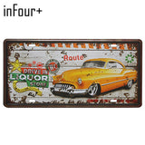 Vintage Home Decor Bus, Motorcycle Car Metal License Plate