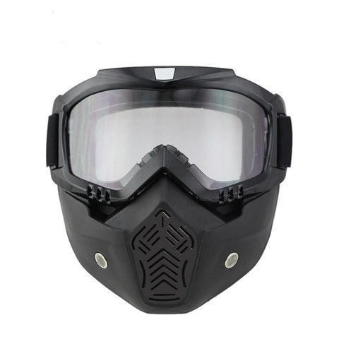 Motorcycle Mask with Goggles For Open Face Helmet