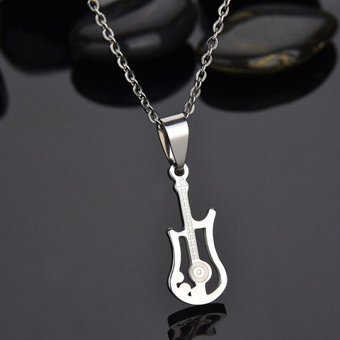 Stainless Steel Guitar Necklace For Women