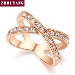 Two Rounds Rose Gold Color Ring Jewelry Austrian Crystals