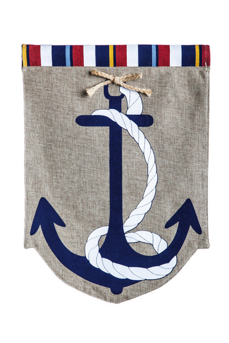 Garden Flag - Burlap Anchor