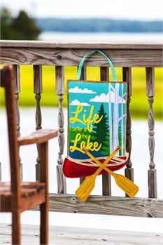 Life is Better at the Lake Burlap Door Decor