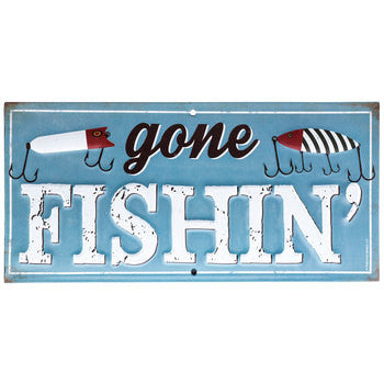 Gone Fishin' Metal Sign - 10.5