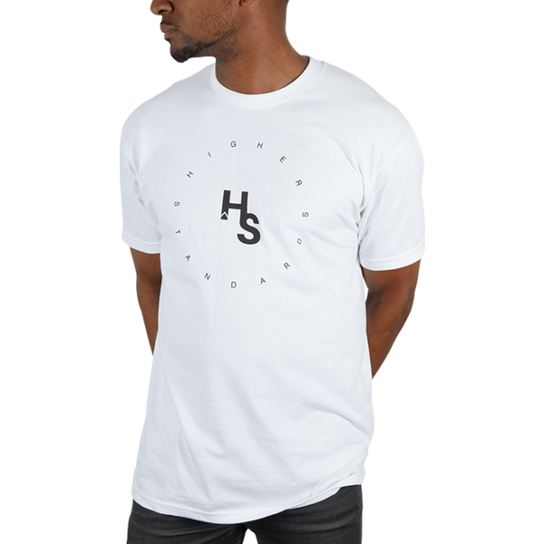 Higher Standards Circle Logo T-Shirt Front - White | The710Source.com
