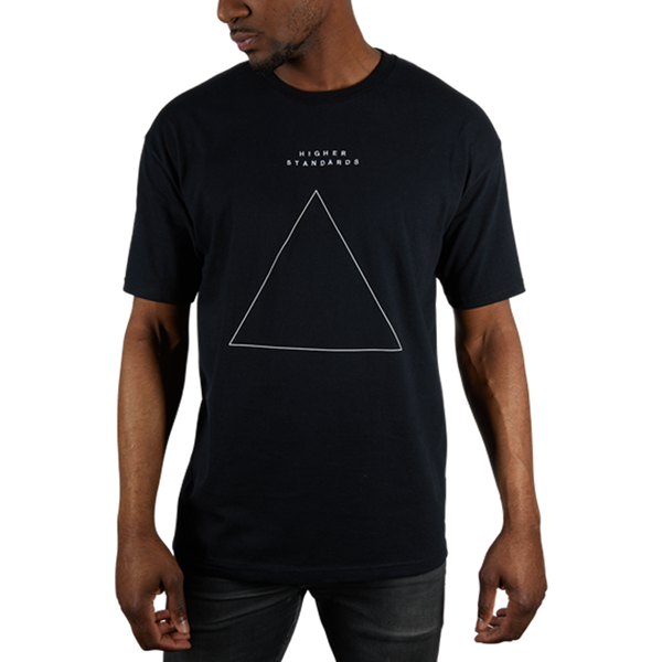Higher Standards Embroidered Triangle T-Shirt - Black | The710Source.com