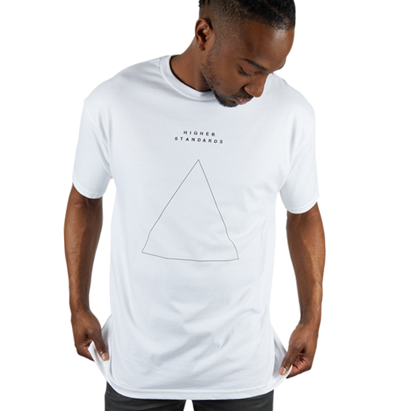 Higher Standards Embroidered Triangle T-Shirt - White | The710Source.com