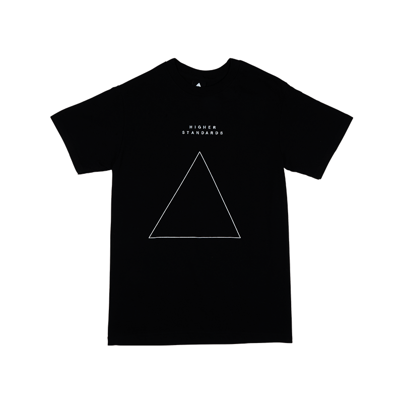Higher Standards Embroidered Triangle T-Shirt Front - Black | The710Source.com