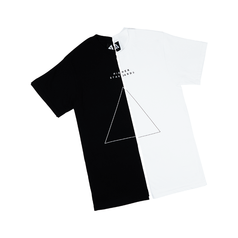 Higher Standards Embroidered Triangle T-Shirt Front - Colors | The710Source.com