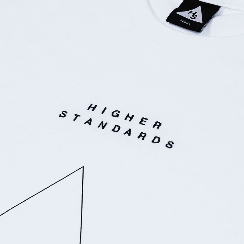 Higher Standards Embroidered Triangle Logo T-Shirt - White | The710Source.com
