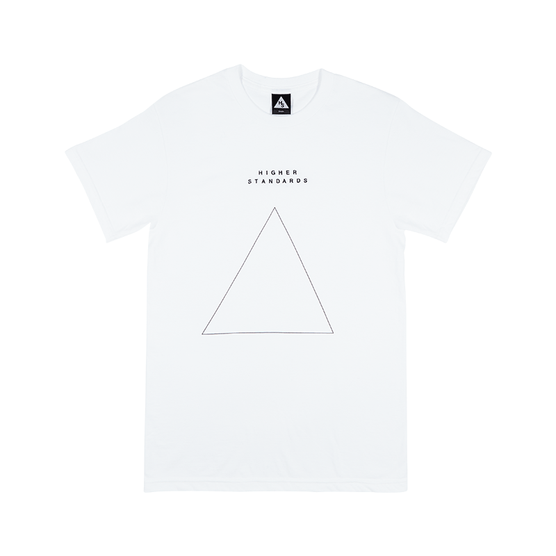Higher Standards Embroidered Triangle T-Shirt Front - White | The710Source.com