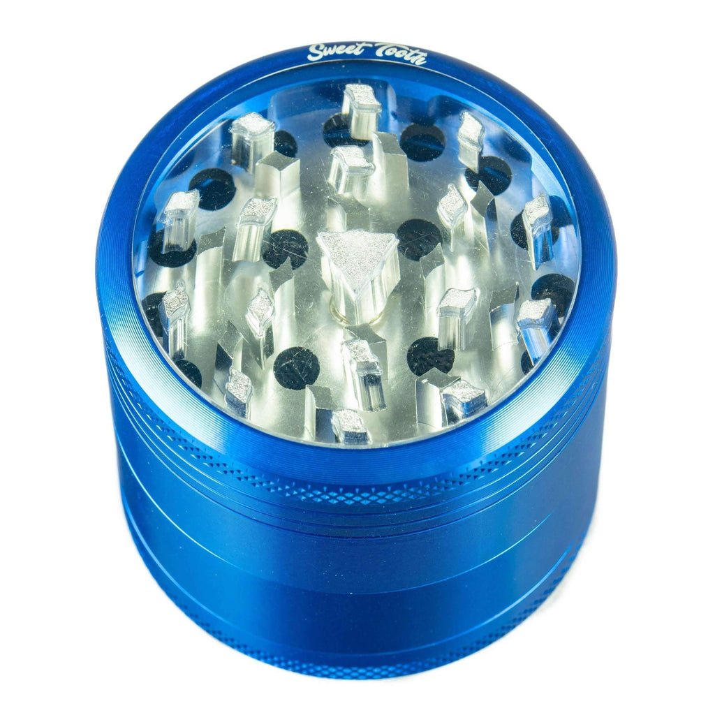 Sweet Tooth 4-Piece Medium Aluminum Grinder - Blue | The710Source.com