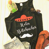 Hola Shirt, Sombrero Shirt, Mustache Shirt, Black Tank Top, Bachelorette Party Shirt,Funny Shirt