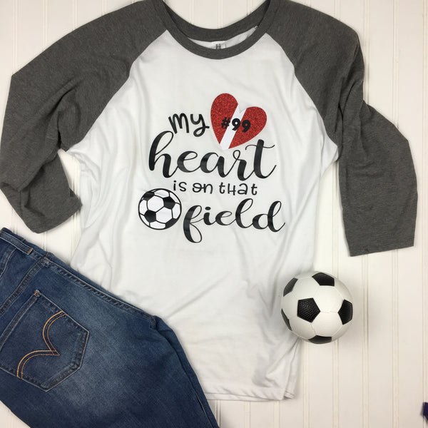 3d5092e01a31 Soccer Mom Shirt, My Heart is on the that field soccer shirt, Sports Mom