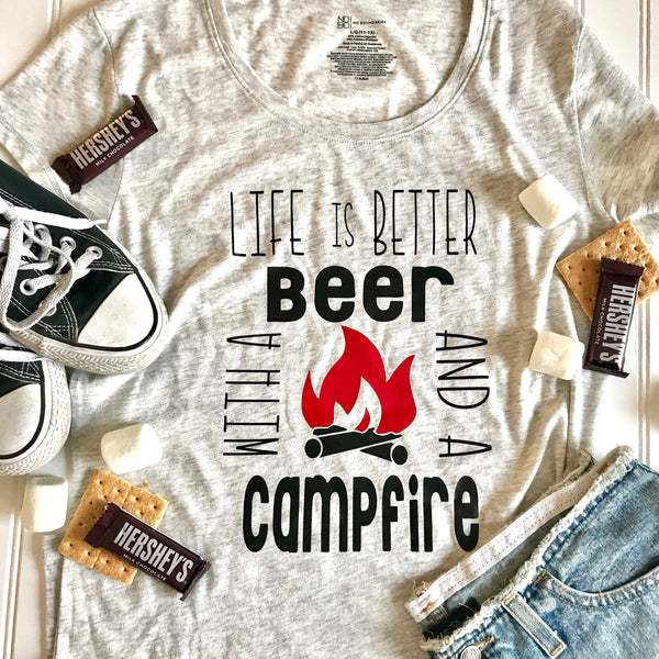 805fb0fc Life is Better with Beer and Campfire Shirt, camping shirt, funny shirt,  summer