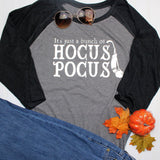 Hocus Pocus Shirt, Halloween Shirt, Fall Shirt, Halloween Raglan, costume shirt, halloween gift, happy halloween shirt, grey and black sleev