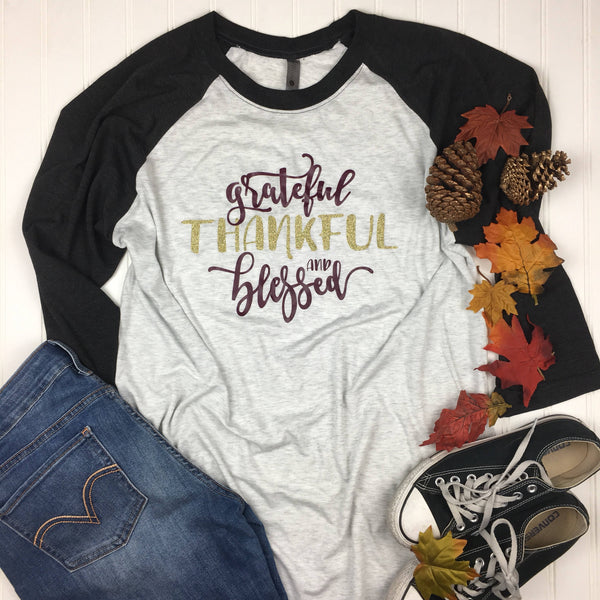 Grateful Thankful Blessed 3/4 Sleeve Baseball Tee with Maroon and Gold Writing Graphic Design, Womens Thanksgiving Shirt, Blessed Mom Shirt