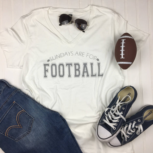 Sundays are for Football Shirt, Football Shirt, game day Shirt, girls football shirt, Fall Shirt, white V Neck Shirt, football team shirt