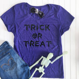 Trick or Treat Halloween Shirt, Halloween Shirt, Adult Costume, Fall Shirt, Cute Halloween Shirt, Women's Halloween Shirt, Purple V-Neck
