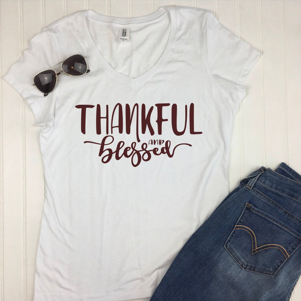 Thankful and Blessed Fall Shirt in white v neck, thankful blessed shirt, womens fall shirt, thanksgiving t shirt, inspirational shirts