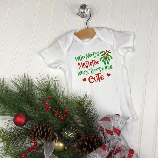 Mistletoe Infant Bodysuit, baby first christmas, Baby Christmas Gift, mistletoe baby clothes, christmas infant bodysuit,