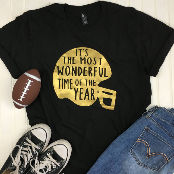 Football Shirt, The Most Wonderful Time of the year, Superbowl Shirt, Fall Shirt, Mom Christmas Gift, Glitter Football Helmet Shirt, Vinyl