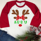 personalized reindeer kids shirt, personalized kids christmas shirt, monogram kids shirt, reindeer kids shirt, girls christmas shirt